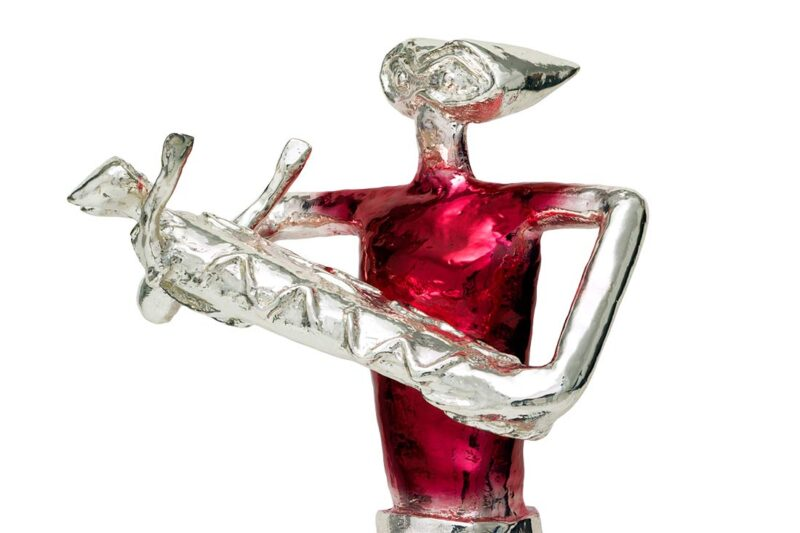 Genesis a bronze sculpture with chrome red patina in a limited edition by Nikolas