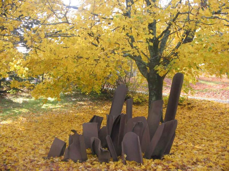 I Beam steel sculpture by Steve Tobin installation art outdoor fall