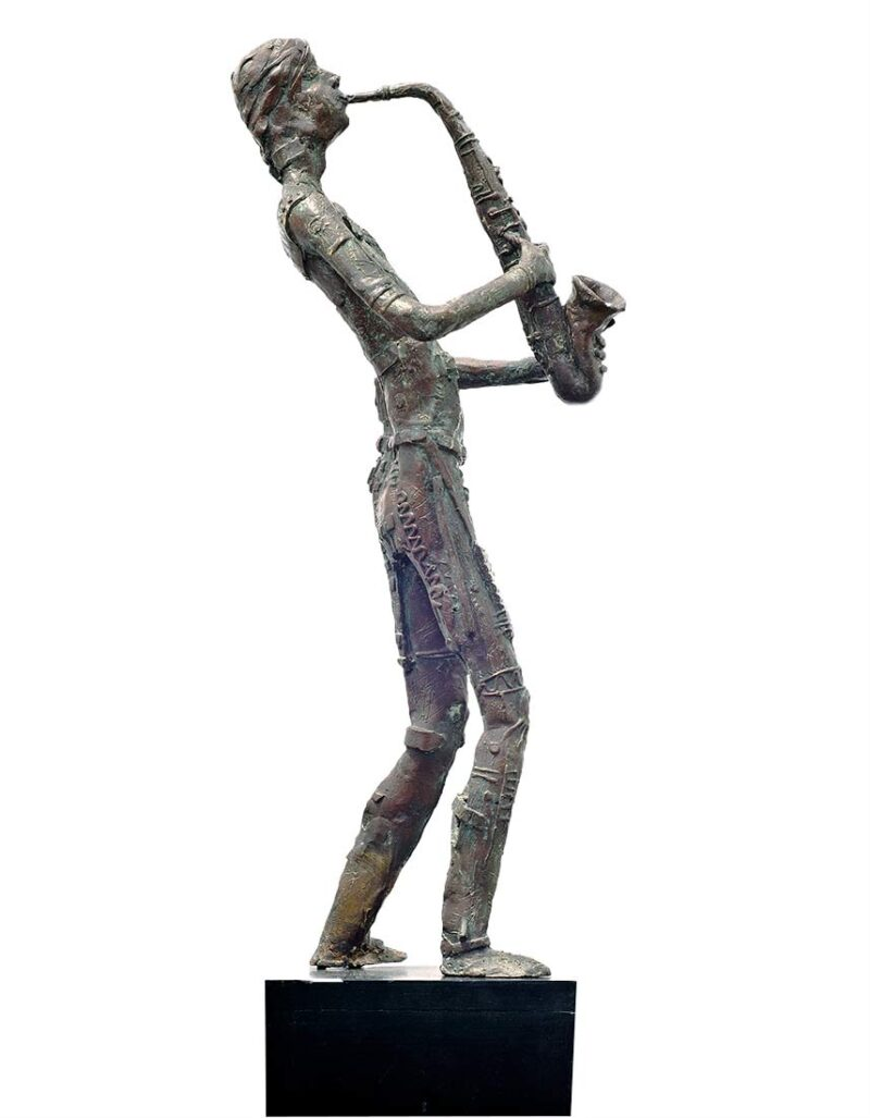 Man with Saxophone a limited edition bronze sculpture by Avedananda Goswami