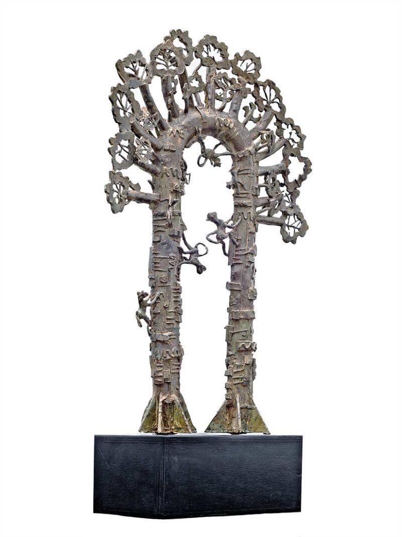 Tree with Monkeys a bronze sculpture by Avedananda Goswami
