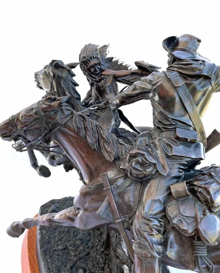 Sabre and Lance a sculpture allegory in bronze Indian Wars by James Muir