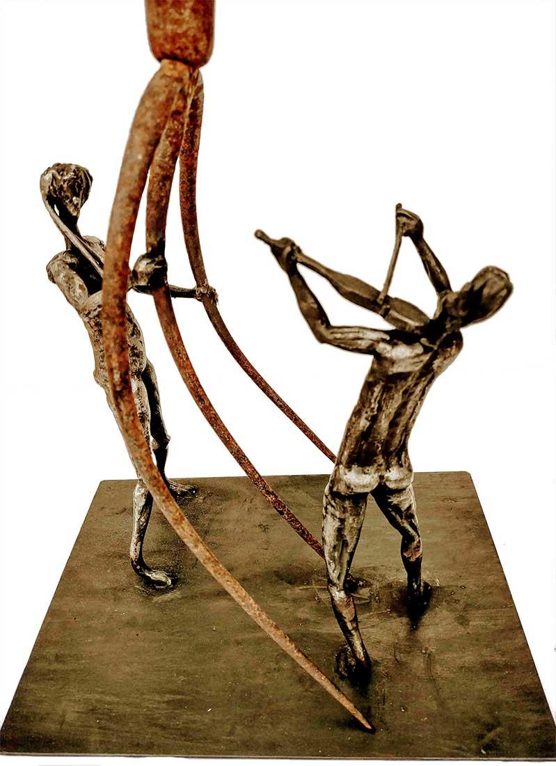 Knut Kvannli welded iron sculpture Music Maybe Love
