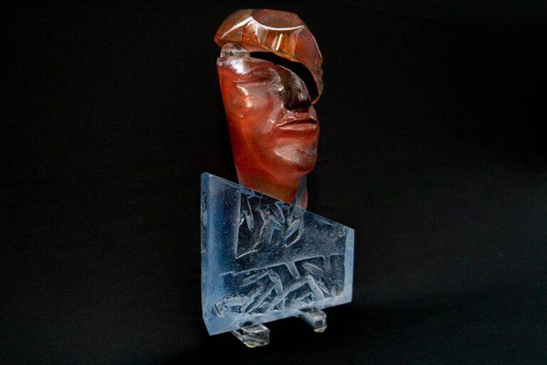 Split Personality a glass art sculpture by Terje Lundaas