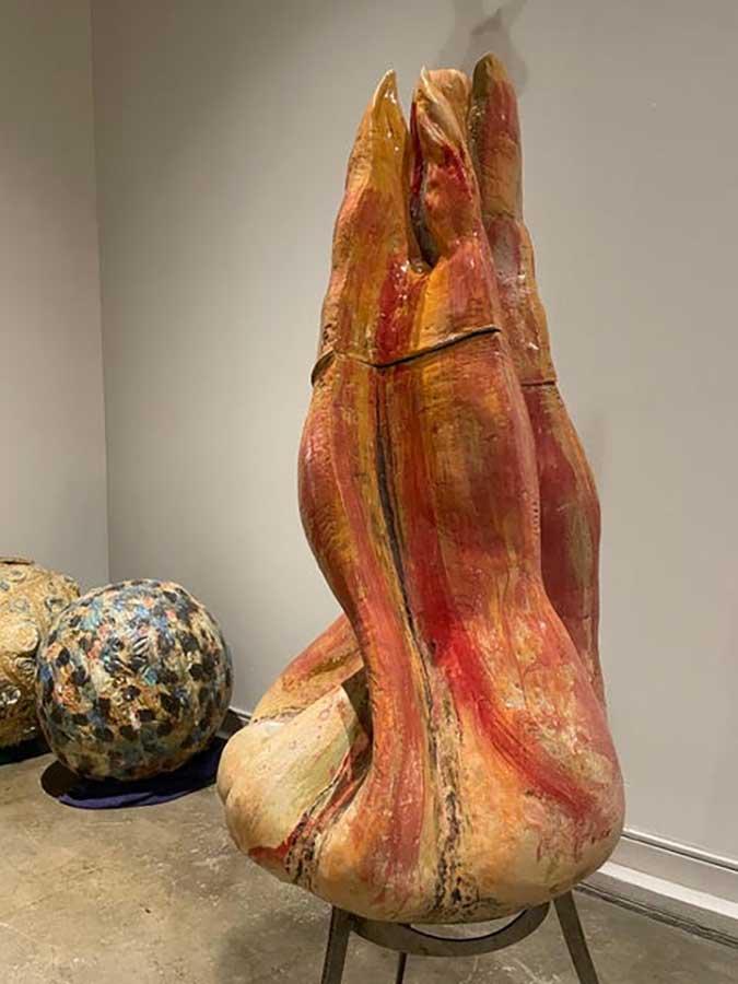 Fireball a ceramic sculpture by Carol Fleming of Studio Tera Nova