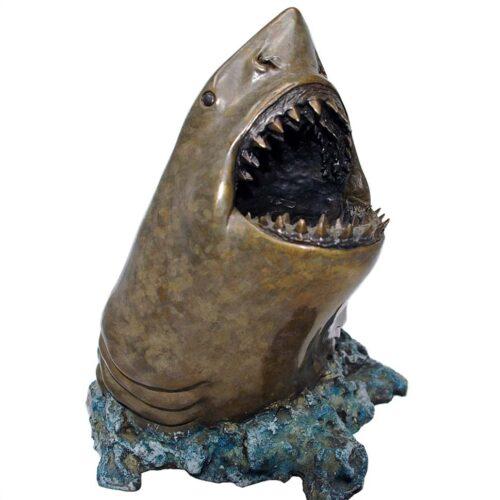 Joseph Quillan noted bronze artist - bronze shark sculpture White Death