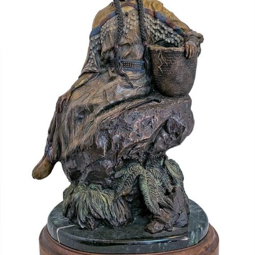 Limited Edition Bronze sculpture Springtime is Rolling Thunders's (Chief Joseph) wife by David Manuel