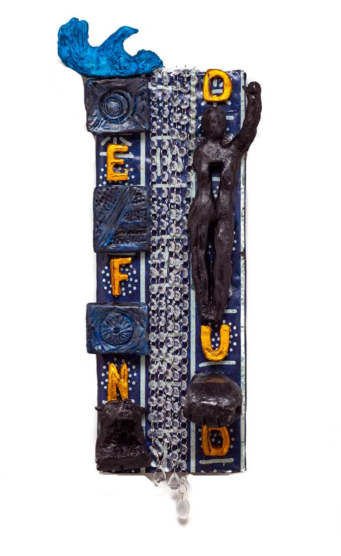 Tears and Hope for Black Lives a unique one of a kind hanging mixed-media sculpture by Ellen Coffey