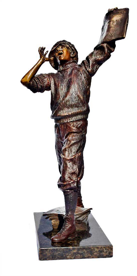 The Newsboy - a bronze limited edition sculpture by allegorical artist James Muir