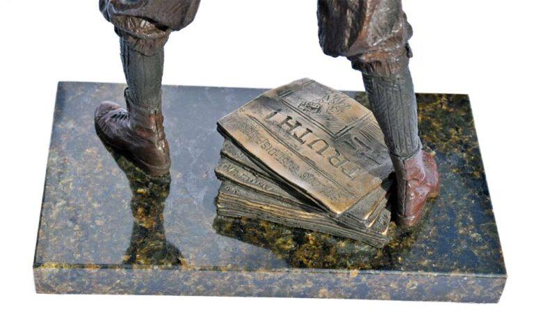 The Newsboy – a bronze limited edition sculpture by allegorical artist James Muir