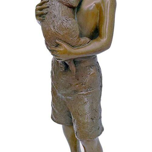 L'Deane Trueblood bronze sculpture boy with dog