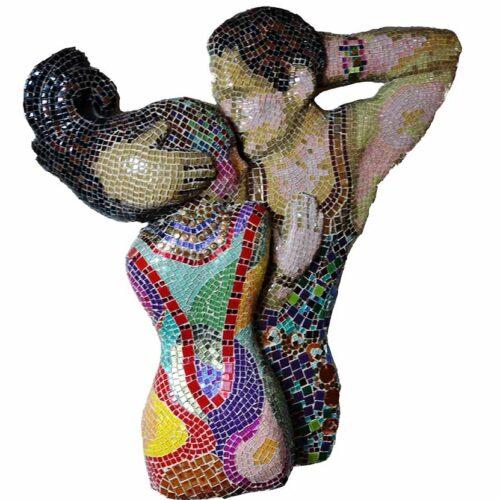 Tango - a mixed-media & mosaic decorative sculpture by Gail Glikmann