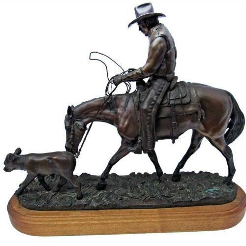 """Bronze sculpture by Linda Stewart """"Friendly Persuasion"""""""