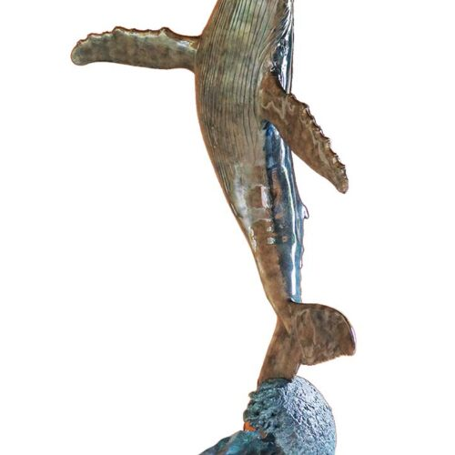Wyland - Breach for the Sky a bronze whale sculpture