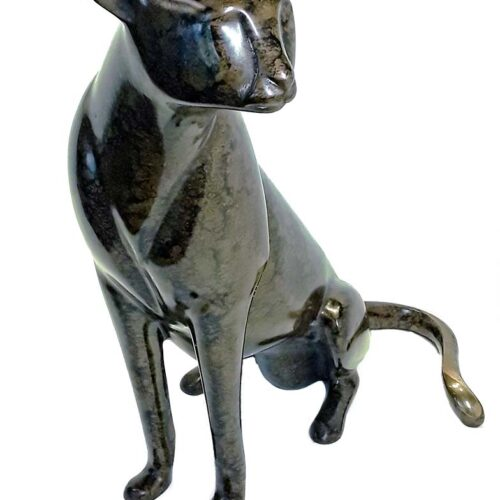 Bronze limited edition sculpturte of a Seated Cheetah by Loet Vanderveen