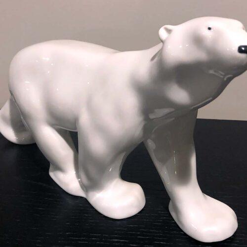 Polar Bear sculpture in porcelain by Lomonosov Porcelain USSR