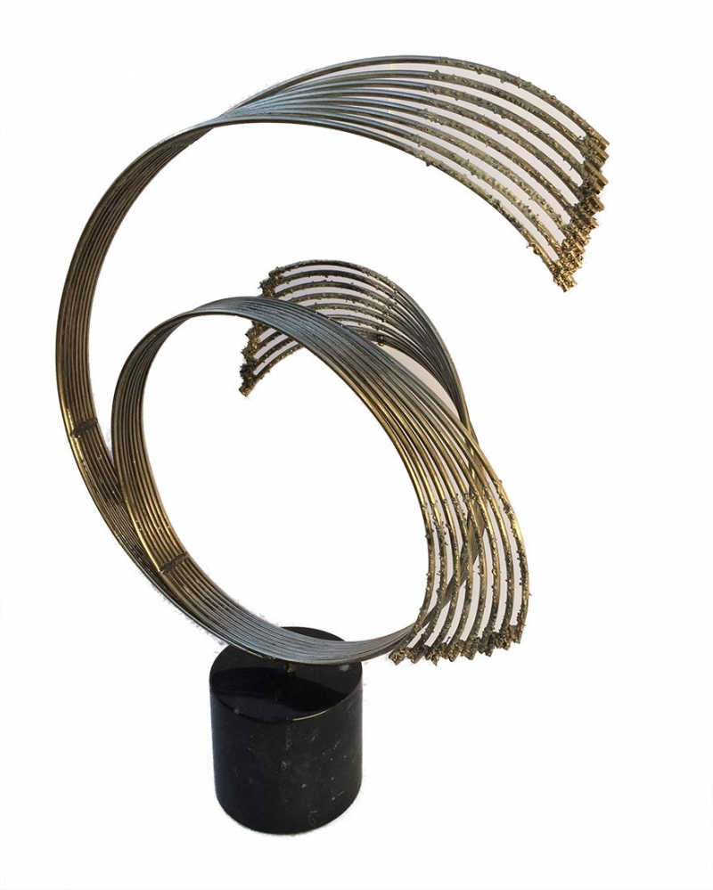 Curtis Jere Circular Spray brass and marble sculpture available for sale at Sculpture Collector