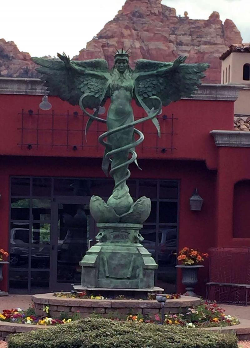 Caduceus a monumental bronze sculpture by James Muir