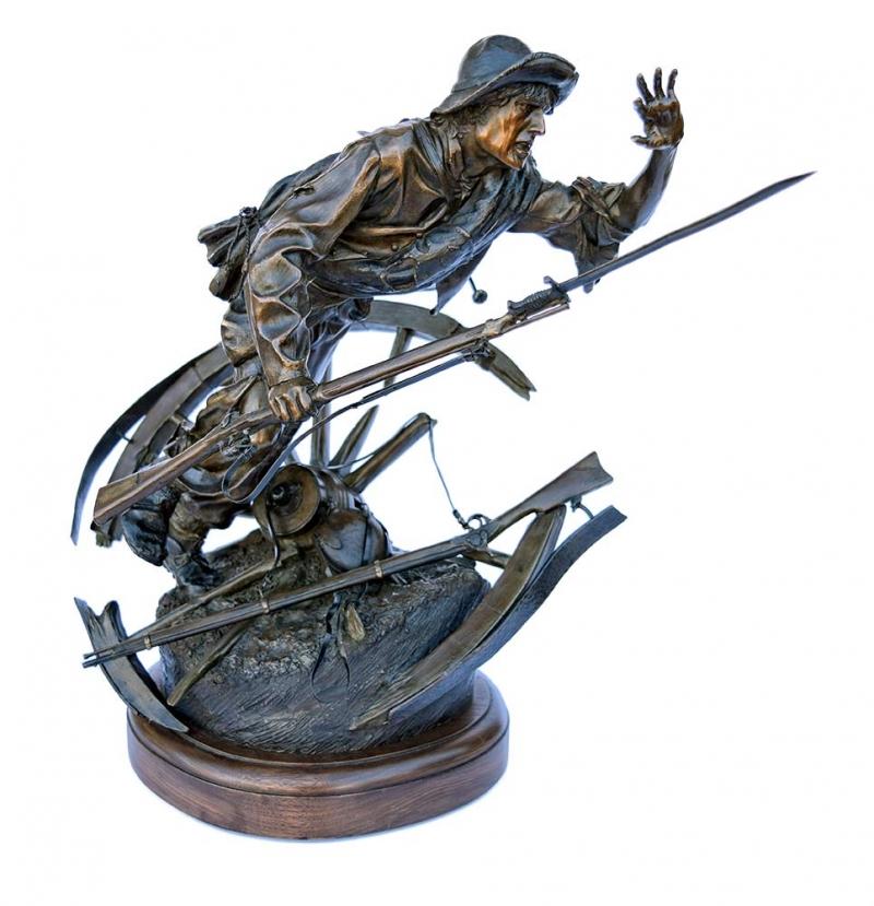 Bronze Civil War Sculpture Through Shot and Shell by James Muir