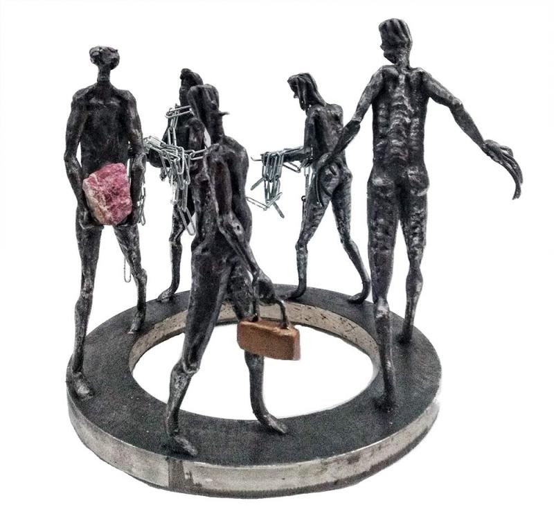 Financial Wizards a unique welded steel sculpture by Knut Kvannli