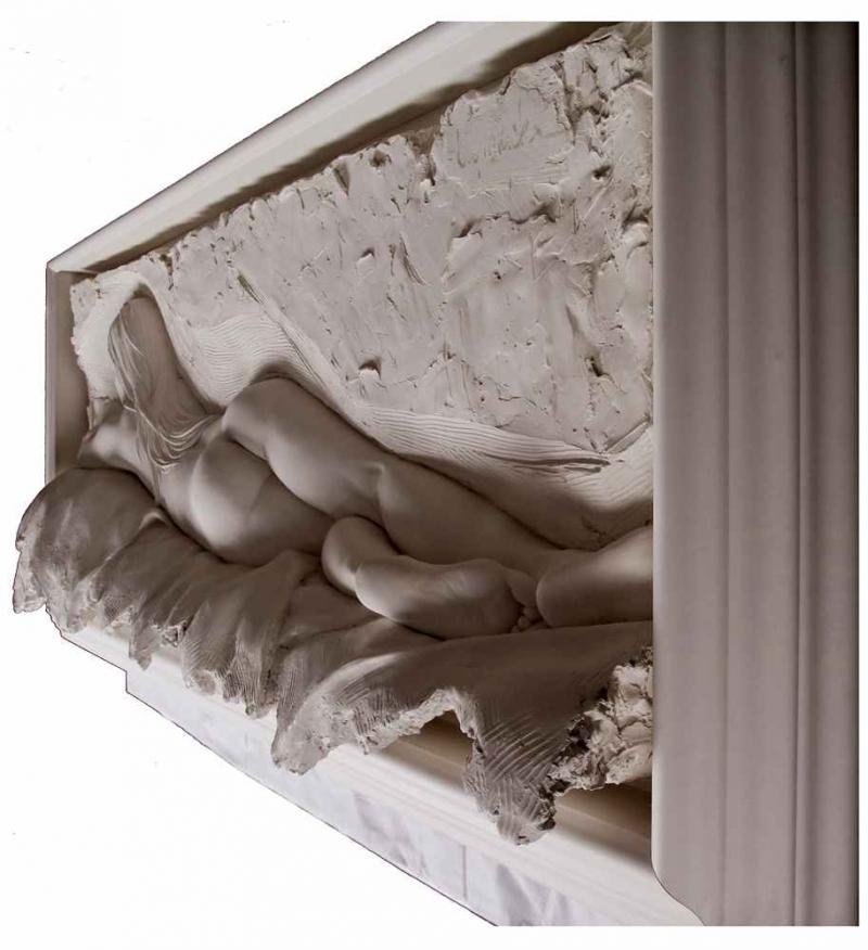 Bill Mack Contemplation bonded sand relief wall sculpture