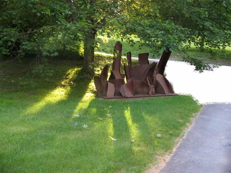 I Beam steel sculpture by Steve Tobin installation art outdoor summer